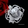 พร้อมส่ง Diamond Brooch เข็มกลัดดอกกุหลาบประดับมุก