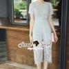 เสื้อผ้าเกาหลี พร้อมส่งPale Gray Blue Strippy Blouse Bibby Lace Set