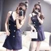 ชุดเดรสเกาหลี พร้อมส่งStrap Shoulder Botton Minimal Dress