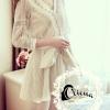ชุดเดรสเกาหลี พร้อมส่งLuxury Lace Diamond V Cross Dress