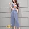 เสื้อผ้าเกาหลี พร้อมส่งชุดเซท เสื้อ+กางเกง เสื้อแบบแขนใหญ่สาวอวบใส่ได้