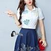 เสื้อผ้าเกาหลี พร้อมส่งLovely Katty Shirt + Denim Skirt Set