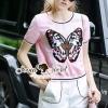 เสื้อผ้าเกาหลี พร้อมส่งSweety Chill Pink Knit Butterfly Set