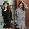 เสื้อผ้าเกาหลี พร้อมส่งStyle CoCo Jacket + Dress Set - set