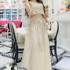 เสื้อผ้าเกาหลี พร้อมส่งGolden Lady Embroidered Luxury Top + Long Skirt Set
