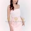 ชุดเดรสเกาหลีพร้อมส่ง Dress สายเดี่ยว แต่งลูกไม้สีขาวไล่ระดับลายริ้ว 5 ชั้น
