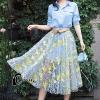 เสื้อผ้าเกาหลี พร้อมส่งAzura Skyblue Shirt + Embroidered Luxury Skirt