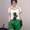 เสื้อผ้าเกาหลี พร้อมส่งCactus Line Top + Short Set