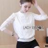เสื้อผ้าเกาหลีพร้อมส่ง เสื้อผ้าลูกไม้แขนยาวสีขาวสไตล์คลาสสิกวินเทจ