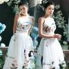 เสื้อผ้าเกาหลี พร้อมส่งLuxury Peacock Embroidered Top + Skirt Set