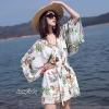 เสื้อผ้าเกาหลีพร้อมส่ง จั๊มสูท ทรงสวย คอวี แขนยาว พิมพ์ลายดอกไม้
