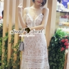 ชุดเดรสเกาหลี พร้อมส่งStripe Flora Lace Dress