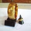 กำไลถมทอง ลายไทย หน้ากว้าง 2.5 cm. แบบสวม แหวนนามสกุลถมทอง หน้ากว้าง 8 mm. งานสั่งทำ โดยเครื่องถมนคร by green