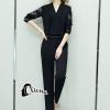 เสื้อผ้าเกาหลี พร้อมส่ง Lace Arms Elegant Jumpsuit