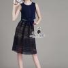 เสื้อผ้าเกาลี พร้อมส่ง fashionista sleeveless blue top nice lace skirt set