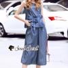 เสื้อผ้าเกาหลีพร้อมส่ง Cami Stripe Blue Ribbin Chic Set