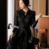 ชุดเดรสเกาหลี พร้อมส่งMini dress ลูกไม้แขนยาวสีดำ