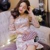 ชุดเดรสเกาหลี พร้อมส่งชุดMini Dress แขนยาวสีทอง