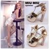 Premium--New collcetion MIU MIU 2014 รองเท้าส้งสูงเสริมหน้าเยอะ หนังเมทาลิคเงา สีทอง มาพร้อมส้นฝั่งเพรชคลิสตัล