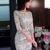 ชุดเดรสเกาหลี พร้อมส่งเดรสทรงบอดี้คอนผ้าทูลเลปักลายดอกไม้สีพาสเทล