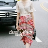 เสื้อผ้าเกาหลี พร้อมส่งBohe Coral Pink-Red Layer Long Skirt Set