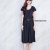 ชุดเดรสแฟชั่นพร้อมส่ง Black Midi Dress Short Sleeves