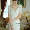 ชุดเดรสเกาหลี พร้อมส่ง ชุดเดรสสีขาวเนื้อผ้า Polyester