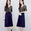เสื้อผ้าเกาหลี พร้อมส่งชุดเซท เสื้อ+กางเกง เสื้อลายทางคอโทนสีเขียวเข้ม