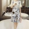 เสื้อผ้าเกาหลี พร้อมส่งIndigo Blue Bloom Bibby Knit Blous Set