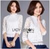 เสื้อผ้าเกาหลี พร้อมส่งเสื้อลูกไม้สีขาวผ้านิ่มใส่สบาย