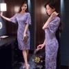 ชุดเดรสเกาหลี พร้อมส่งชุดเดรสผ้าลูกไม้แขนกระดิ่งสวยหรู