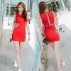 ชุดเดรสเกาหลี พร้อมส่งStraps Off Waist Sleeveless Mini Dress