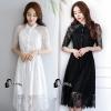 ชุดเดรสเกาหลี พร้อมส่งlong dress ลูกไม้นิ่มลื่นเกรดด