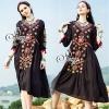 ชุดเดรสเกาหลี พร้อมส่ง Bohemian V-Neck Colorful Midi Dress