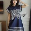ชุดเดรสเกาหลี พร้อมส่งเดรสผ้าคอตตอนสีน้ำเงินปักลายสไตล์เบสิก
