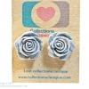 ต่างหูพลาสติก,ต่างหูก้านพลาสติก,ต่างหูเด็ก E29003 The Grey Flowers ต่างหู ราคาถูก