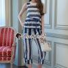 เสื้อผ้าเกาหลีพร้อมส่ง Layer Blue White Lace Swift Set