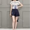 เสื้อผ้าเกาหลี พร้อมส่งCisie Top + Skirt Short Set
