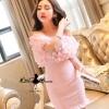 เสื้อผ้าเกาหลี พร้อมส่งMini dress เปิดไหล่งานสวยๆ ไฮโซ จากแบรนด์ lucky chouette