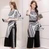 เสื้อผ้าเกาหลี พร้อมส่ง Versace Contrast Dress With Pants Sets