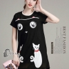 ชุดเดรสเกาหลี พร้อมส่งมินิเดรสผ้าตาข่าย เย็บปักรูปแมว 2 ตัว