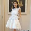 ชุดเดรสเกาหลีพร้อมส่ง Dress คอกลมแขนระบาย มีเกาะอกด้านในเว้าเอว