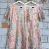 ชุุดเดรสเกาหลี พร้อมส่งชุดเดรสผ้าปักดิ้นทอง ลายดอกไม้สีหวาน