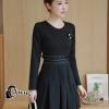 ชุดเดรสเกาหลี พร้อมส่ง Mini dress ทางเรียบร้อยสีดำ ดูดีมาก