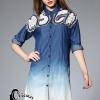ชุดเดรสเกาหลี พร้อมส่งLong shirt ผ้าdenim