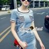 ชุดเดรสเกาหลี พร้อมส่งSlantly Stripy Denim Dress
