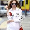 เสื้อผ้าเกาหลี พร้อมส่ง Shirt ตัวยาว ดีไซหน้าสั้น หลังยาว