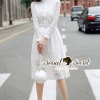 ชุดเดรสเกาหลี พร้อมส่งLayer Lace Belt Lovely Dress