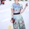 ชุดเซท Gucci เสื้อ+กระโปรงพิมพ์ลายดอกไม้ผ้าพริ้วๆ