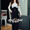 เสื้อผ้าเกาหลี พร้อมส่ง Fashionista Lace Top Pants Set
